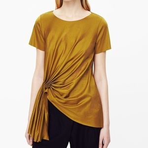 Cos gold pleat front top